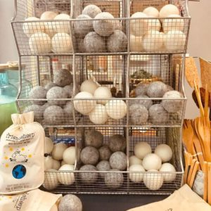 display of wool dryer balls